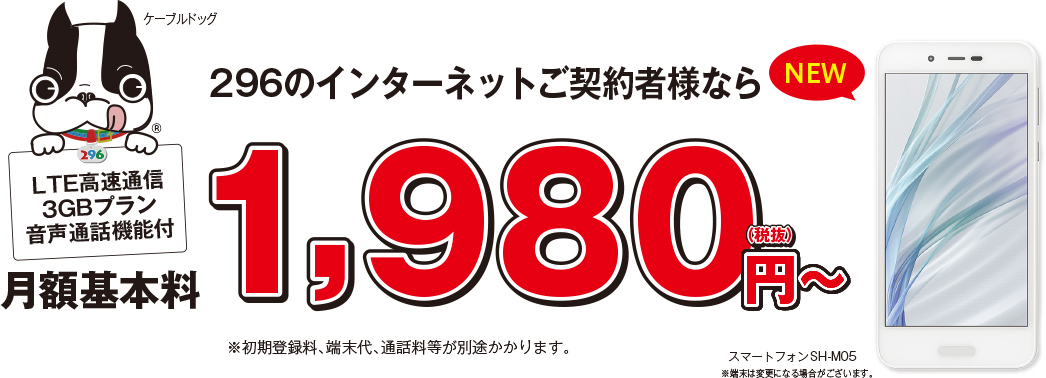 296のインターネットご契約者様なら月額基本料1,980円〜
