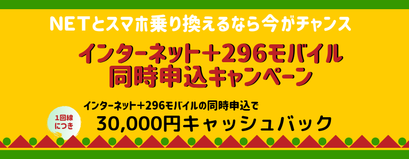 インターネット+296モバイル 同時申込キャンペーン